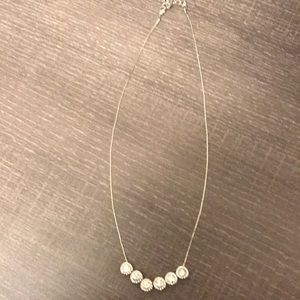 Silver necklace with floating crystals